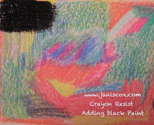 Crayon Resist - applying black tempera