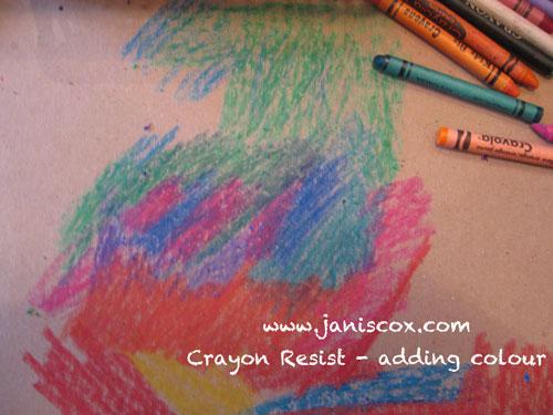 Crayon Resist - adding colour